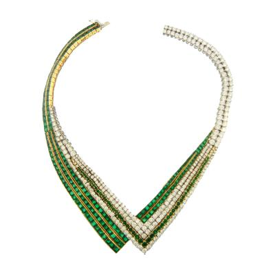 1960s Emerald and Diamond French Necklace