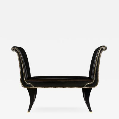 1960s Faux Leather Hollywood Regency Style Bench