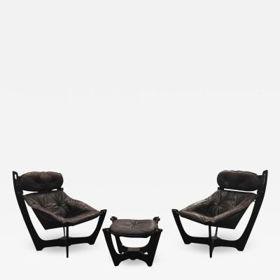 1960s Folke Ohlsson Scandinavian Leather Lounge Chairs Ottoman Set of 3
