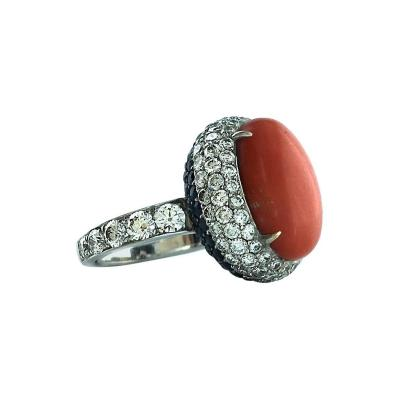 1960s French Coral Sapphire Diamond Gold Ring