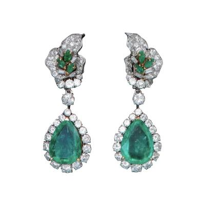 1960s French Emerald Diamond and Platinum Ear Pendants