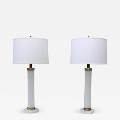 1960s Glass And brass With Marble Base Italian Table Lamps