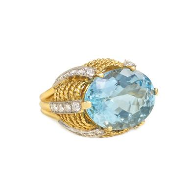 1960s Gold Aquamarine and Diamond Cocktail Ring