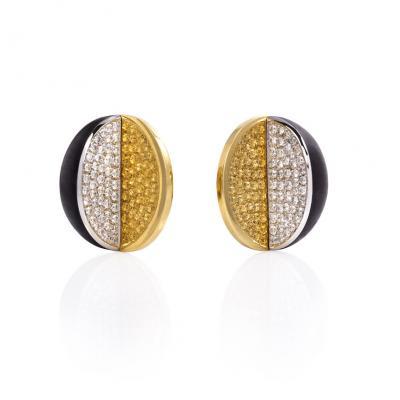 1960s Gold Diamond and Ebony Half Dome Earrings