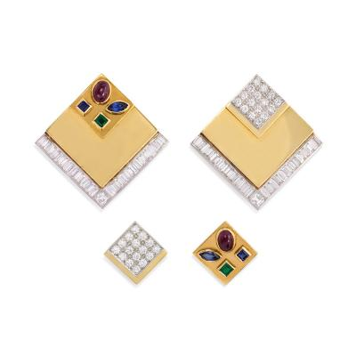 1960s Gold and Multi Gemstone Square Form Earrings with Interchangeable Insets