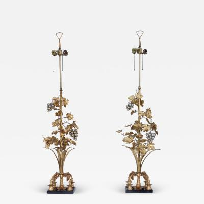 1960s Grape Vine Gilt Tall Table Lamps