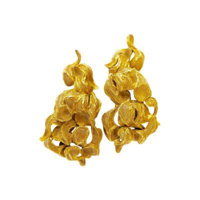 1960s Greek Freeform Gold Clip Earrings