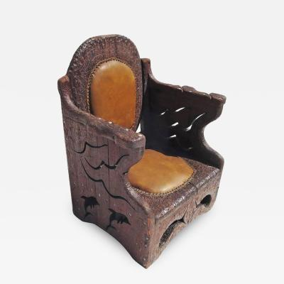 1960s Hand Carved Folk Art Armchair in an Underwater Theme