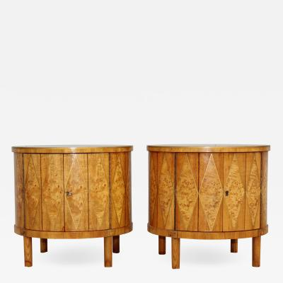 1960s Inlay Bur wood Drum End Tables