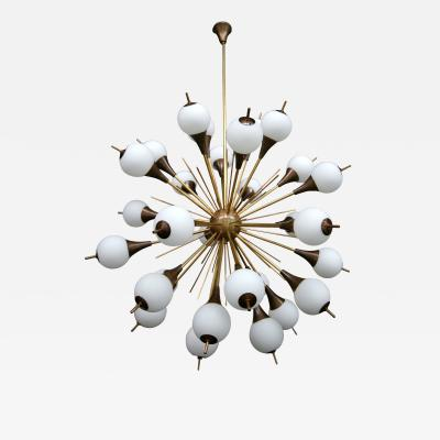 1960s Italian Brass Sputnik Chandelier with White Balls