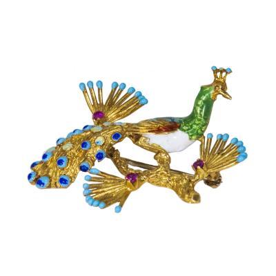1960s Italian Handmade 18 Karat YG Ruby Enamel Peacock Brooch Pin Pendant
