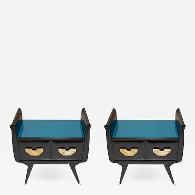 1960s Italian Mid Century Modern Teal Blue Black Lacquer Pair of Nightstands