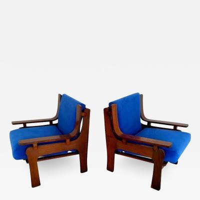 1960s Italian Pair Vintage Cobalt Blue Velvet Veneer Rosewood Modern Armchairs