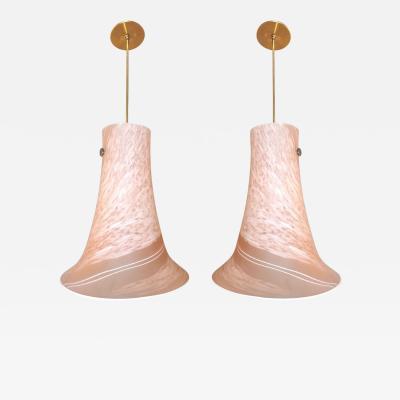 1960s Italian Pair of Pink Rose White Murano Glass Flared Pendants Lamps