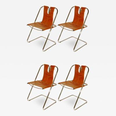 1960s Italian Set of Four Hand Stitched Leather and Chrome Chairs