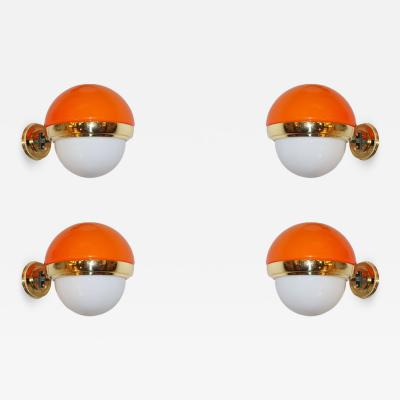1960s Italian Vintage White Orange Murano Glass Brass Double Lit Sconces