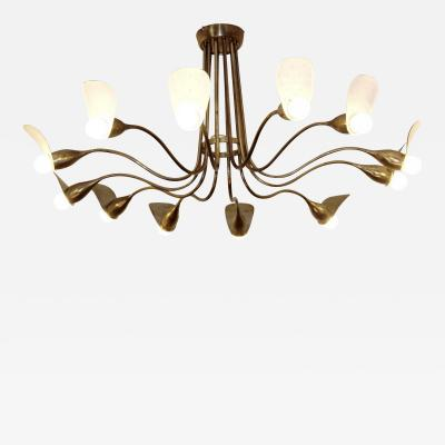 1960s Italian chandelier in polished brass