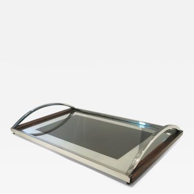 1960s Italian wood chrome and mirror tray