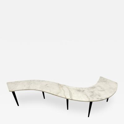 1960s Marble Top Curved Coffee Table