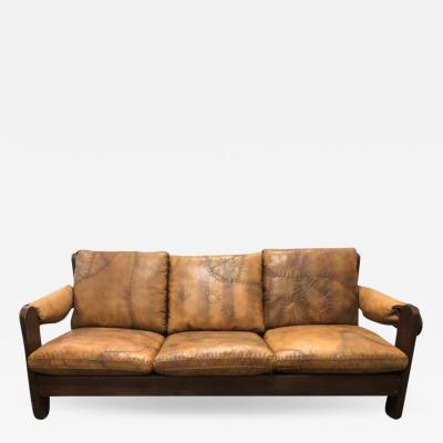 1960s Mid Century Brazilian Stitched Leather Sofa