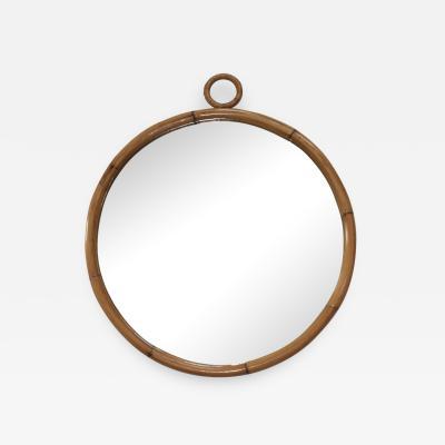 1960s Mid Century Modern Round Bamboo Wall Mirror