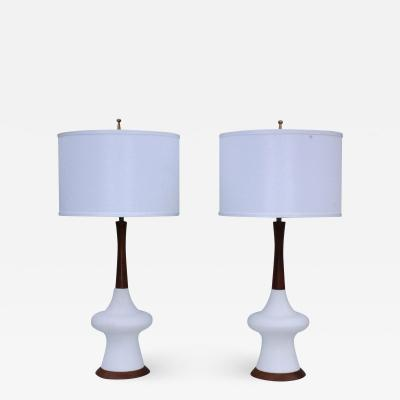 1960s Modern Danish Style Pottery And Walnut Table Lamps