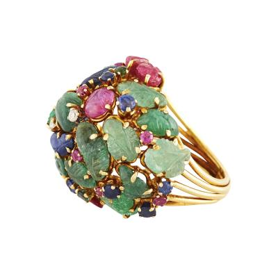 1960s Multi colored Gemstone and Diamond Ring