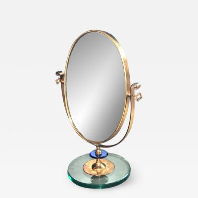 1960s Neoclassical Italian Midcentury Brass Italy Table Vanity Mirror