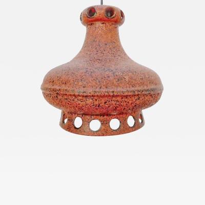 1960s ORANGE CERAMIC PENDANT LAMP GERMAN