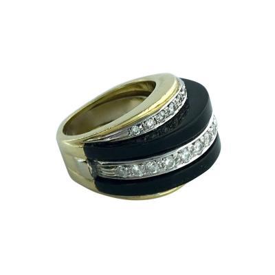 1960s Onyx Diamond Gold Platinum Ring