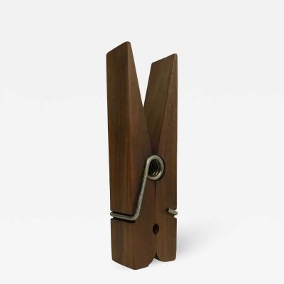 1960s Oversized Walnut Wood Clothespin Big CLIP MEXICO Midcentury Modern
