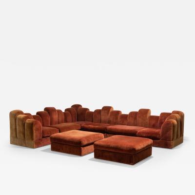 1960s Skyline Design Velvet Sectional Sofa