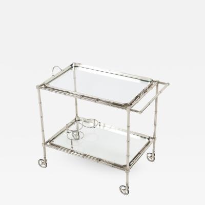 1960s Swedish Polished Nickel Faux Bamboo Bar Cart on Casters