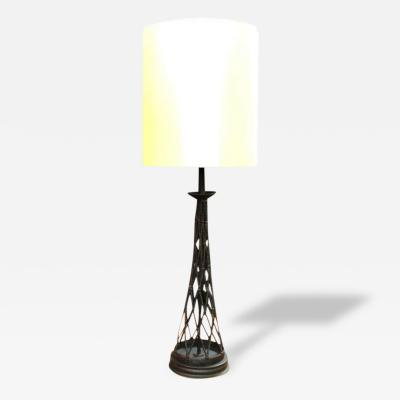 1960s Tall Hand Forged Table Lamp