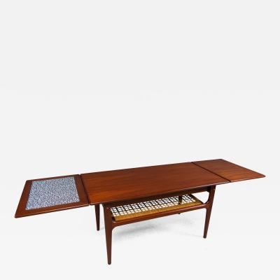 1960s Trioh of Denmark Teak Woven Cane Expandable Coffee Table