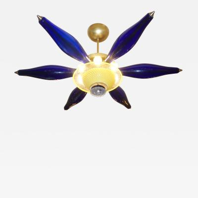 1960s Vintage Italian Star Pendant Flush Mount in Yellow and Blue Murano Glass