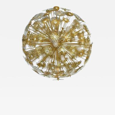 1960s Vintage One of a kind Italian Round Brass and Glass Flower Chandelier