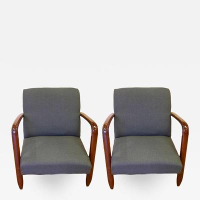 1960s Vintage Pair of Italian Modern Design Armchairs in Walnut and Denim