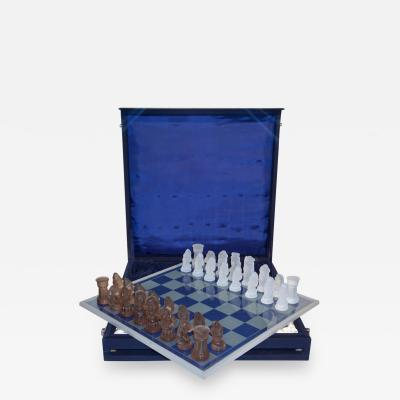 1960s Vintage White and Bronze Color Bohemia Glass Czech Chess Set in Blue Box