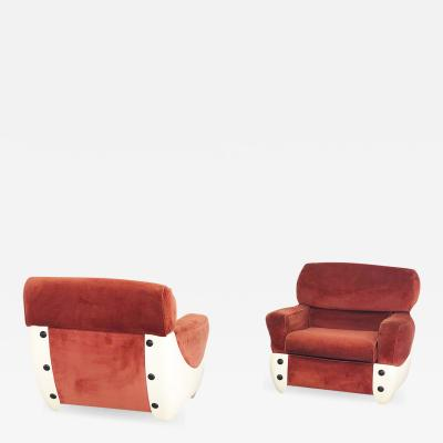 1960s space age armchairs in fiberglass and velvet