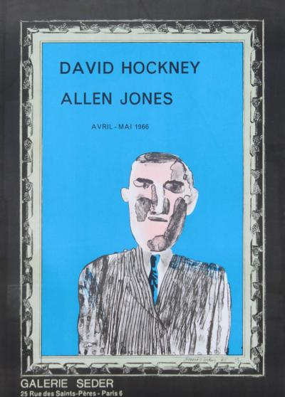 1966 Vintage David Hockney Galerie Sedar Exhibition Poster
