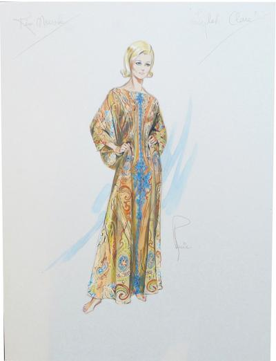 1968 Costume Sketch for Kim Novak