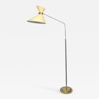 1970 extensible floor lamp in brass with a double diabolo shade