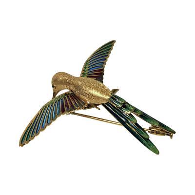 1970 s 18K Enamel Humming Bird Brooch