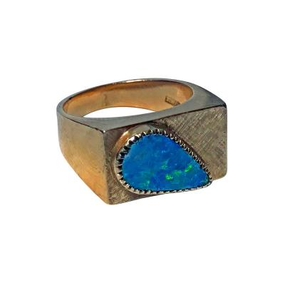 1970 s Gold Opal triplet Ring