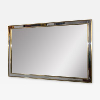 1970 s Modern Chrome And Brass Italian Mirror