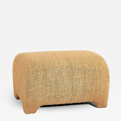 1970 s Raw Cotton Barrel Ottoman