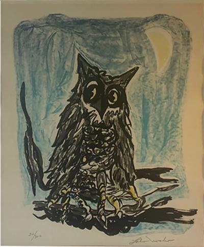 1970S SIGNED OWL AND MOON LITHOGRAPH