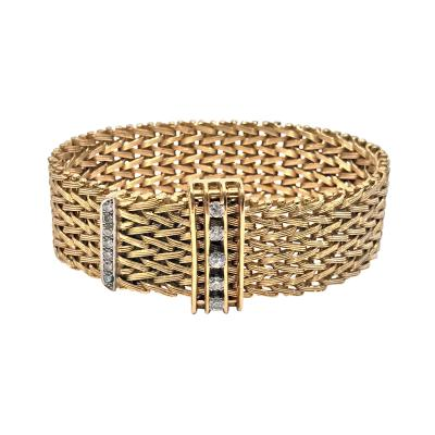 1970s 18K and Diamond mesh link wide adjustable Bracelet