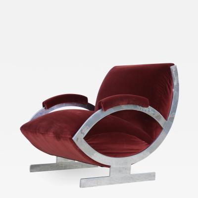 1970s Art Deco Style Italian Aluminum Lounge Chair